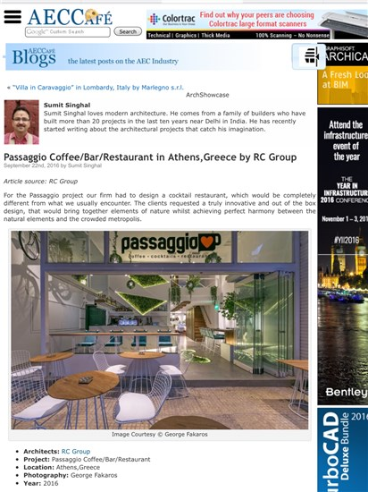 ACEC CAFE CALIFORNIA PUBLICATION PASSAGGIO COFFEE/BAR/RESTAURANT